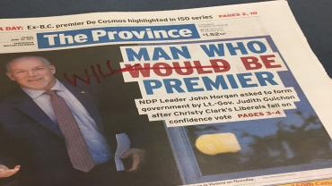"The Province headline: ""Man who will be premier"""