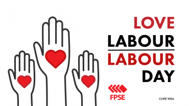 Labour day graphic hands with hearts overlaid on palms