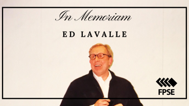 Photo of Ed Lavalle. Text: In Memoriam Ed Lavalle. FPSE logo.