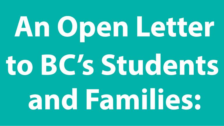 Teal header: An Open Letter to BC's Students and Families