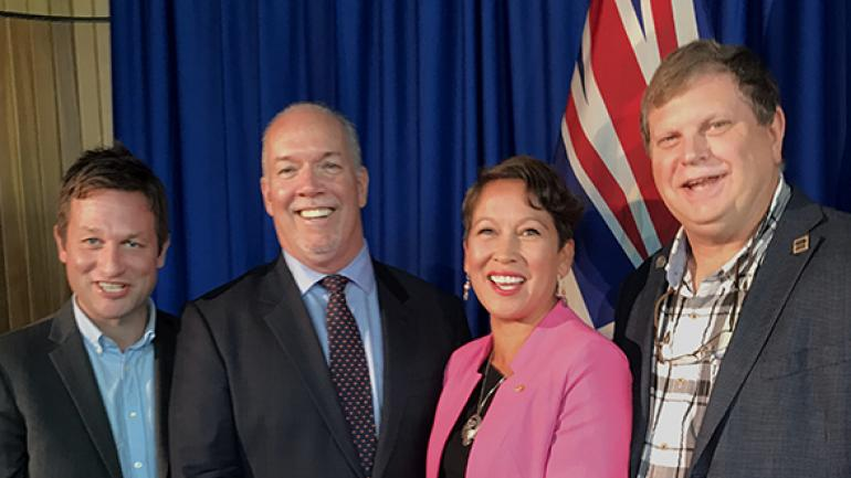FPSE President George Davison with Premier Horgan, Advanced Education, Skills and Training Minister Melanie Mark, and Education Minister Rob Fleming.