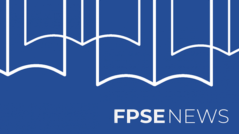 Text: FPSE News. Image: Outline of books against blue background.